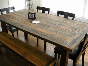 diy rustic farmhouse kitchen table made from reclaimed With barnwood kitchen table and chairs