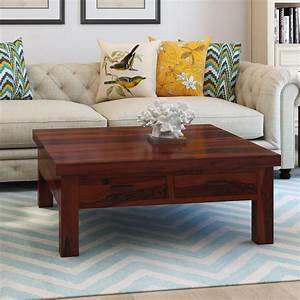 classic solid wood 4 drawers square storage coffee table With real wood square coffee table