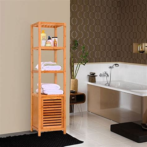 5 Tier Natural Bamboo Floor Cabinet Bathroom Tower Storage
