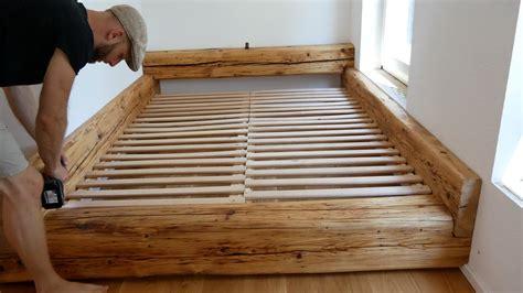 Betten Zum Selber Bauen by Einzigartig Holzbett Selber Bauen Balkenbett Bett Made By