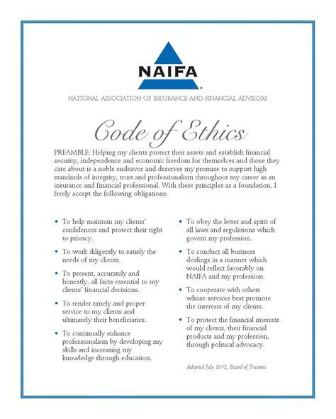 naifa code  ethics dennis young insurance agency