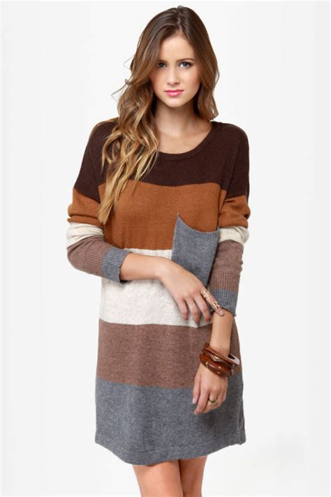 colored sweater dress cozy oversized sweater dress color block sweater dress