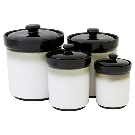 black kitchen canisters kitchen canister set 4 piece jar modern storage organizer dining table top new ebay