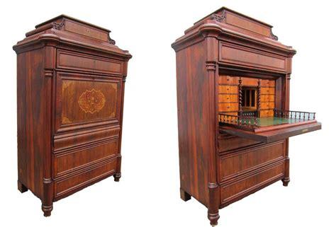 bureau secretaire vintage antieke 19de eeuwse biedermeier palissander klep