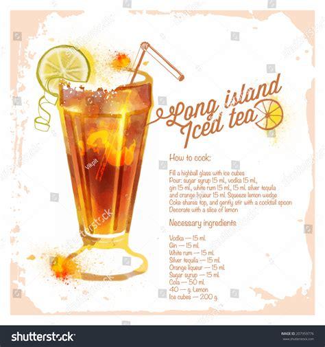 recipe for island iced tea cocktails long island iced tea menu stock vector 207959776 shutterstock