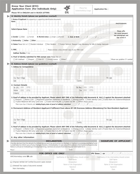 download kyc form for free formtemplate