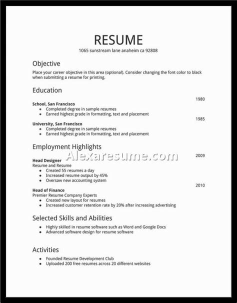 Basic Resume Exles For by Basic Resume Sles Template Business