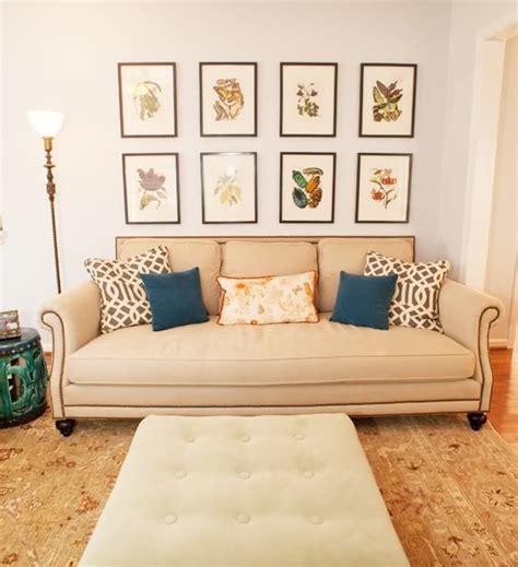 wall art above sofa framed botanical prints vignettes details pinterest