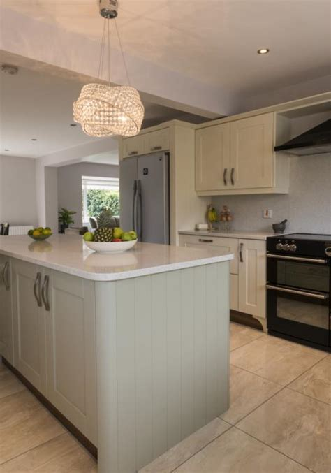 green shaker style kitchen kitchens newry ivory shaker kitchen with green island 4039