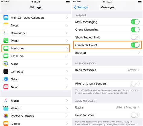 how to turn messages on iphone how to enable the character counter for sms messages on