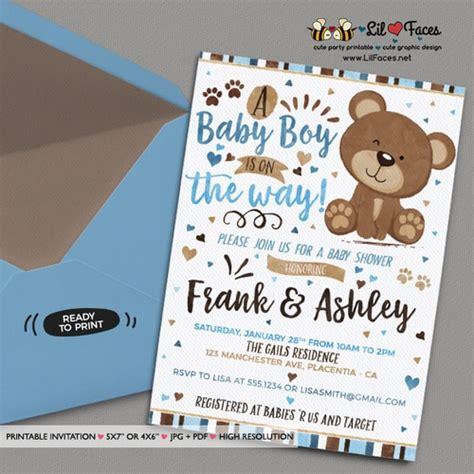 blue  brown  bear baby shower invitation