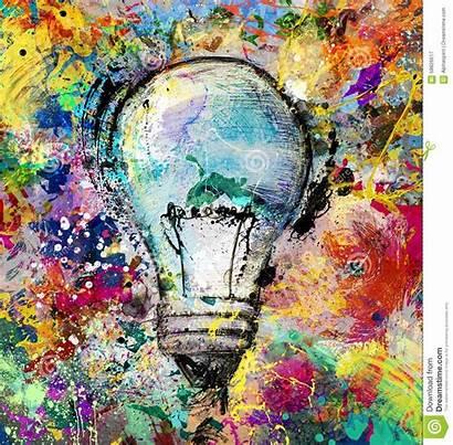 Creative Colorful Idea Painting Bulb Drawn