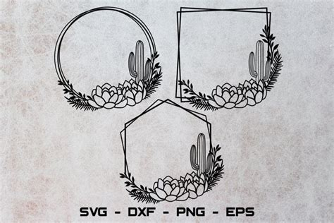square cactus frame svg circle cactus frame svg cricut svg  monograms design bundles