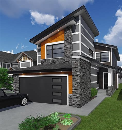 contemporary style house plan    bed  bath