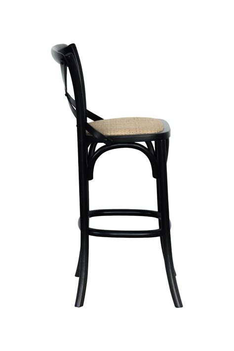 provincial cross  bar stool natural oak black