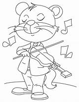 Coloring Cat Violin Playing Crazy Pages Fiddle Popular sketch template