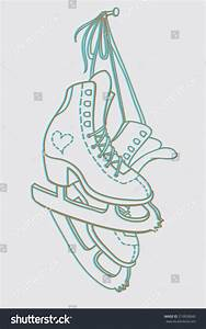 Pair Ice Skates Hanging On Nail Stock Vector 219838840 ...