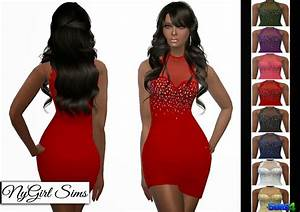 NyGirl Sims 4: Lace Trim Asymmetric Mini Dress
