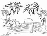 Coloring Pages Summer Landscape Fun Printable Beach Surfboard Adult Sunset Adults Scenery Print Nature Sheets K5 Worksheets K5worksheets Colorear Para sketch template