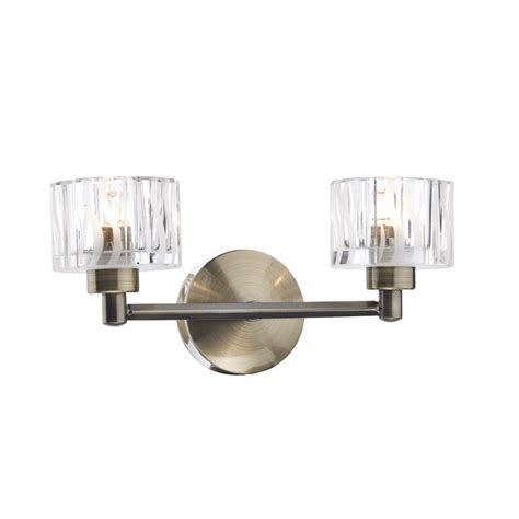 traditional antique brass wall light with glass shades