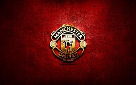 Download wallpapers Manchester United FC, golden logo ...