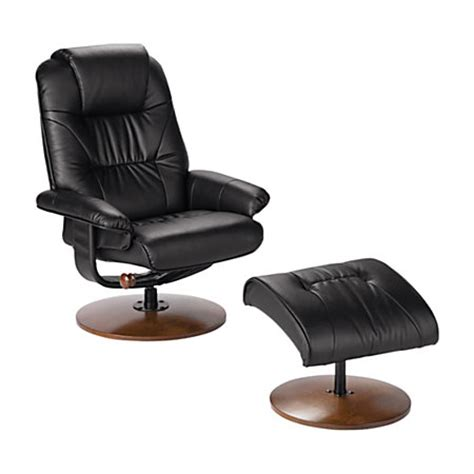 sei naples leather reclining chair and ottoman set black