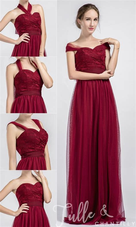 long tulle  lace wine convertible bridesmaid dresses