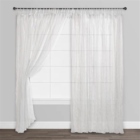 White Sheer Voile Curtains by White Crinkle Sheer Voile Cotton Curtains Set Of 2 84