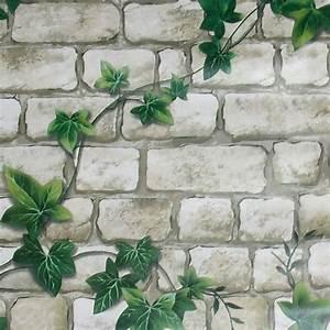 Tapete Mit Sprühkleber : tapete selbstklebend efeuranken steinmauer blumen bl ten ~ Lizthompson.info Haus und Dekorationen