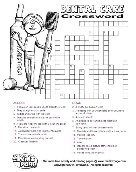 dental care crossword free printable learning activities