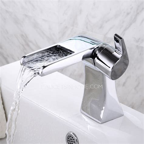 Cool Designed Short Waterfall Deck Mounted Bathroom Sink