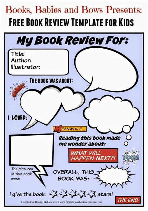 Book Review Template Books Babies And Bows Free Printable Free Book Review