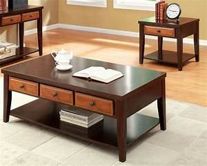Furniture of america lyman 3 drawer dark oak and cherry for Cherry coffee table and end tables