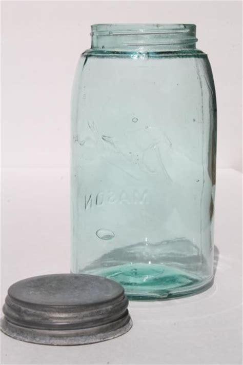 vintage mason jar carrier rack wire handle basket holds  blue glass jar
