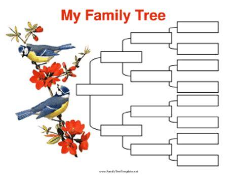Family Tree Template Family Tree Templates 4 Generations 4 Generation Family Tree With Birds Template