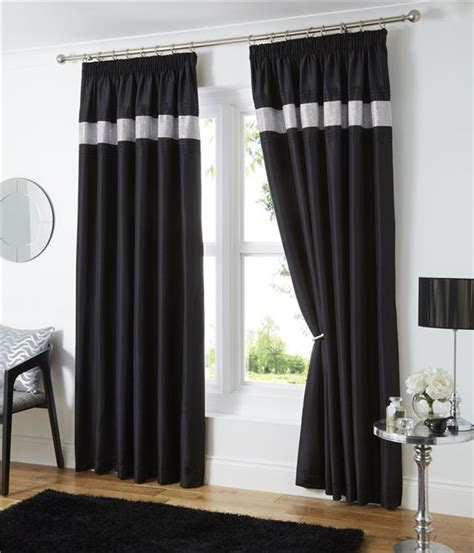 pencil pleat lined curtains white black or silver grey