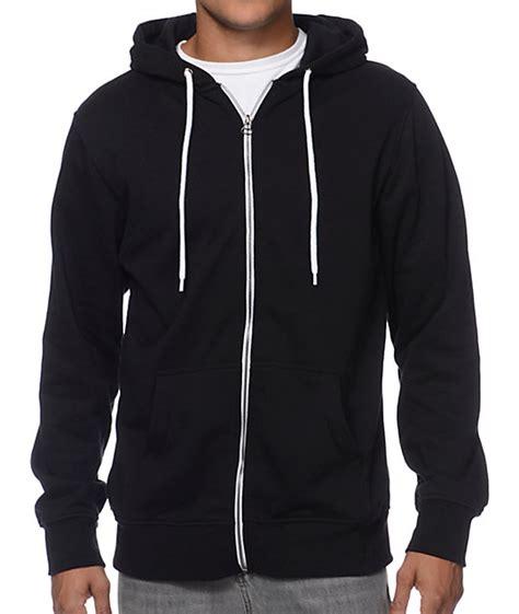 Zine Hooligan Black Solid Zip Up Hoodie - Zip Up Hoodies - Mens Zip Up Hoodies