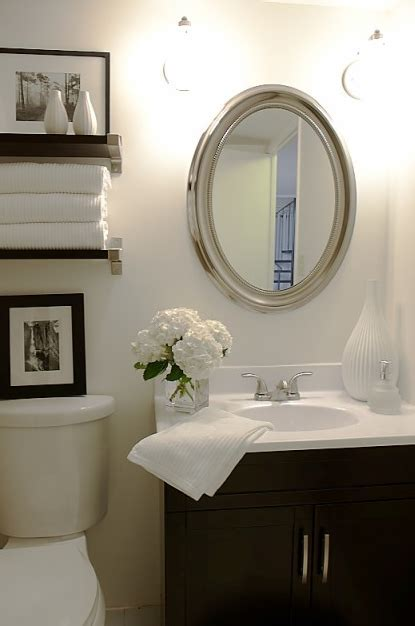 Floating Shelves Flanking Bathroom Mirror Design Ideas