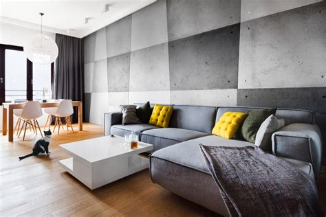 beton na ścianie w aranżacjach wnętrz mieszkalnych architektura wnętrza technologia design