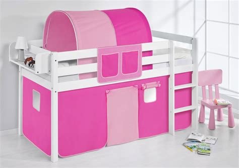 Cabin Bed Bunk Bed Midsleeper Jelle White + Curtains By Lilokids
