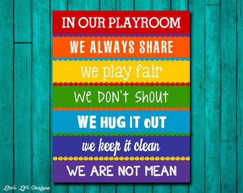Playroom Rules Sign. Childrens Wall Art. Kids Room Decor