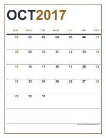 Editable October Calendar 2017 with Holidays