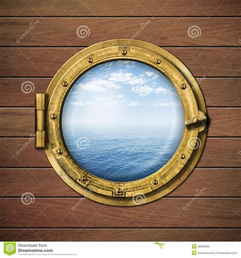 fen 234 tre ou hublot de bateau avec la mer ou l oc 233 an illustration stock image 38950069