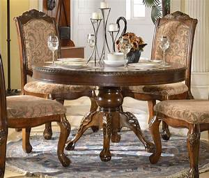 Andrea, Formal, 54, U0026quot, Round, Dining, Table, With, Traditional, Brown, Finish