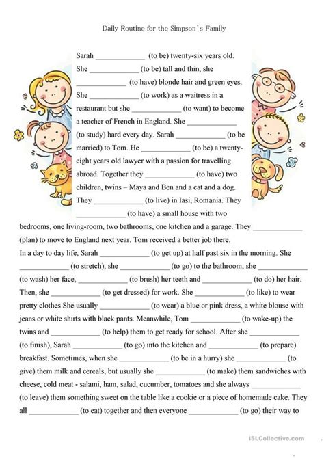 pages present simple reading comprehension text