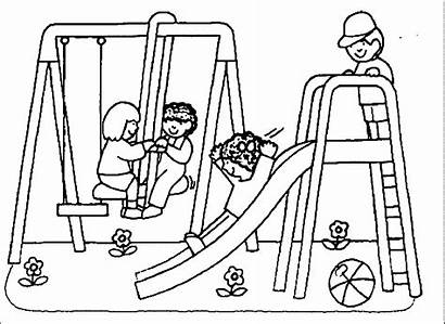 Coloring Park Playground Pages Swing Drawing Printable