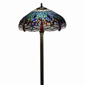 Tiffany style dragonfly floor lamp for Overstock tiffany floor lamp