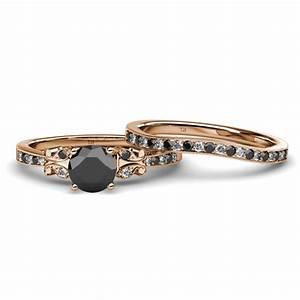 Black and white diamond four prong milgrain work bridal for Work wedding rings