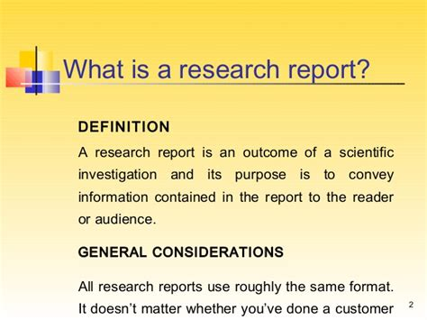 research report writing a research report