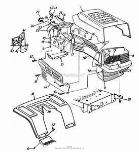 Mtd 13aq695h352  1997  Parts Diagram For Hood Style 5